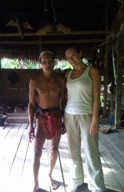 Laura with the tribes that are hidden in the island