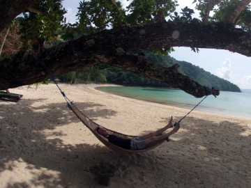 Gael having an afternoon siesta on the beach