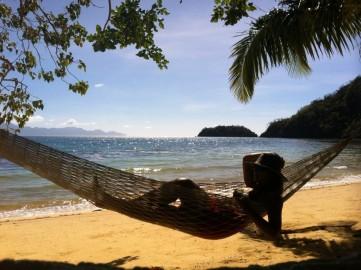 Audrey on her hammock at Marooning Beach