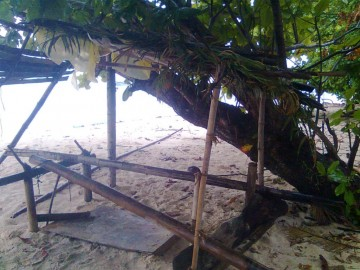 He built a nice shelter with leaves and bamboo, and made a hammock