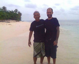 John and one of our staff before going back to the mainland