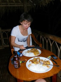 Valentine having dinner on the cottage terrace