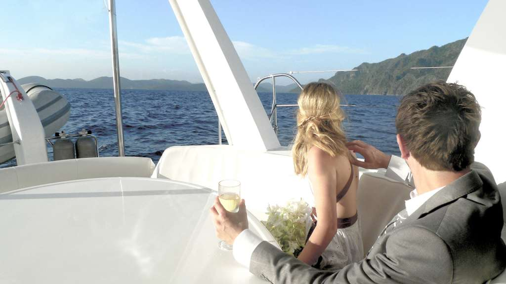 The happy couple enjoying the views of the islands