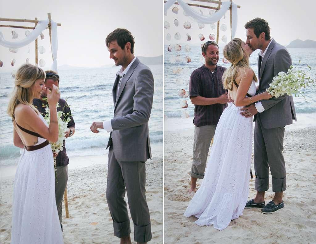 Matrimonio en una playa desierta