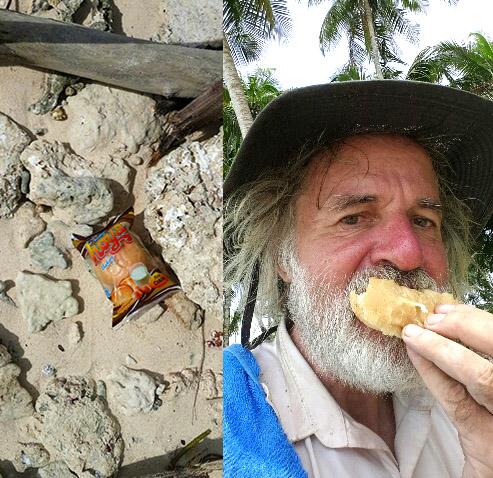 Ian Stuart Argus eating chocolate bread