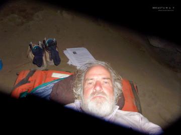 Ian Argus Stuart sleeping in Hunga Tonga