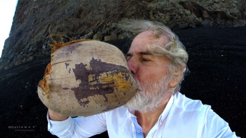 Ian found a coconut washed up from the sea in Hunga Tonga