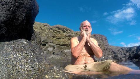 Ian having his daily bath in one of the pools in Hunga Tonga