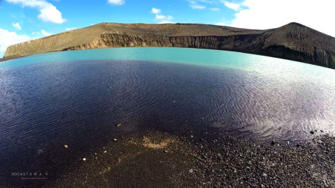 Lake in Hunga Tonga. Already open to the sea